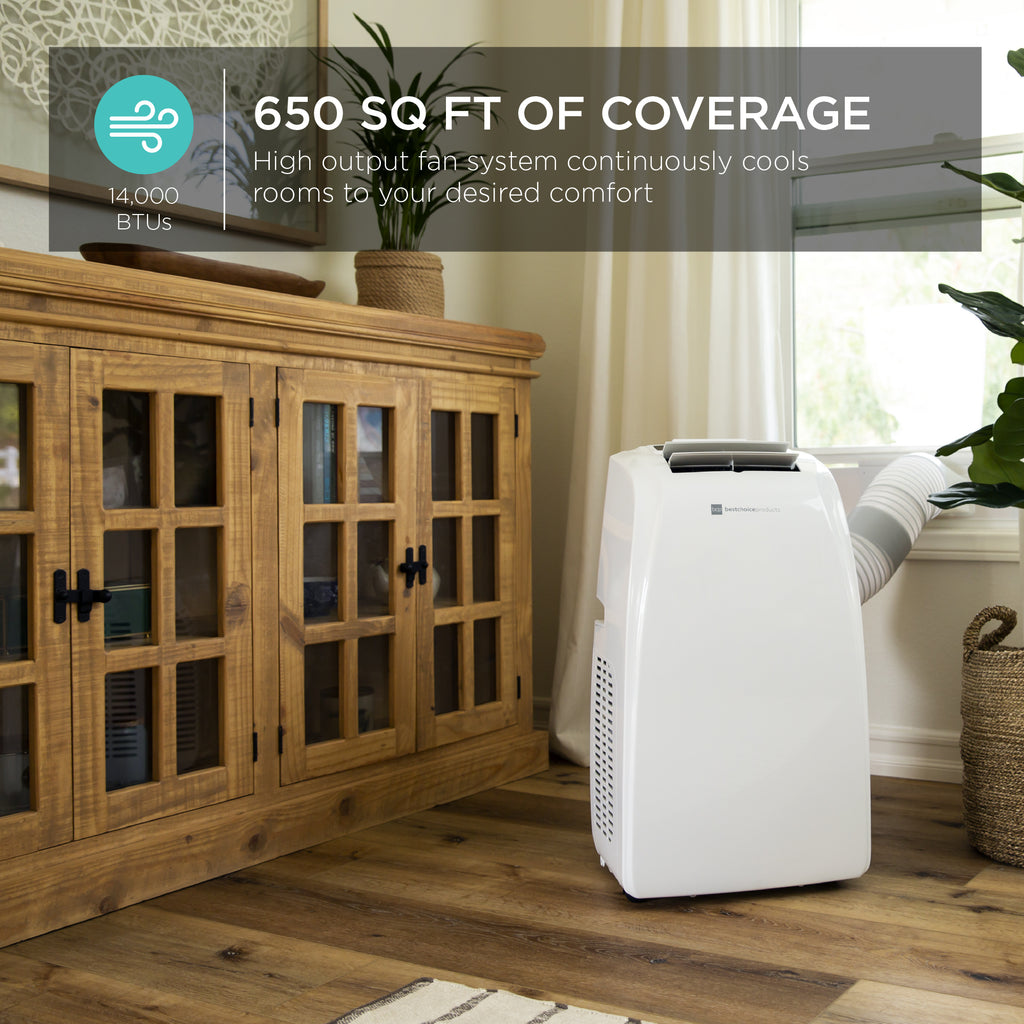 3-in-1 14,000 BTU Portable Air Conditioner for Up to 650 Sq. Ft w/ Remote