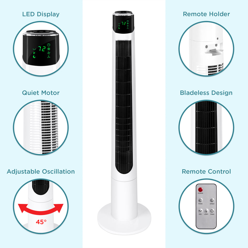 47in Oscillating Tower Fan w/ 3 Adjustable Speeds &  3 Modes, Remote, Timer