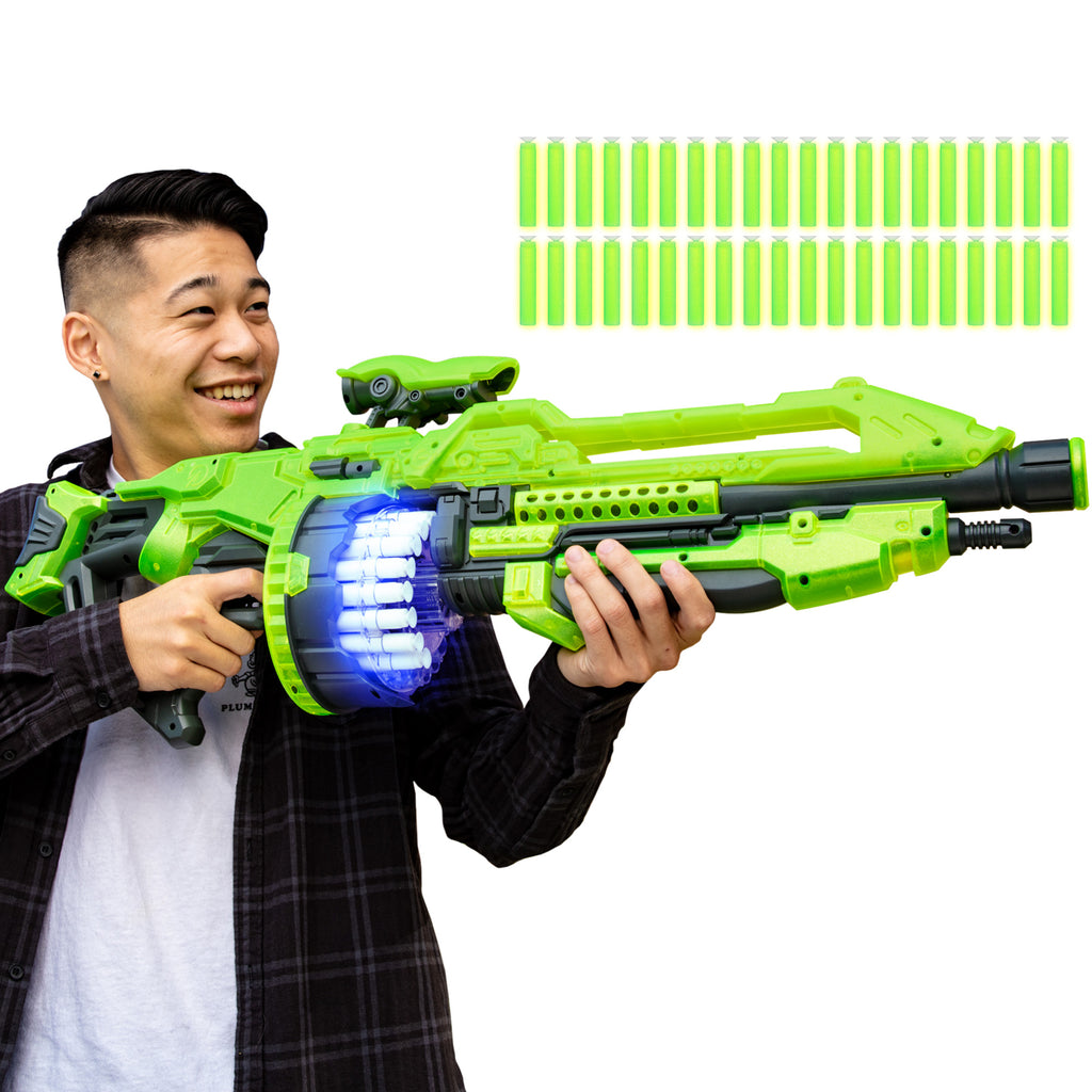 Electric Foam Dart Alien Blaster Toy w/ 40 Glow-in-the-Dark Darts