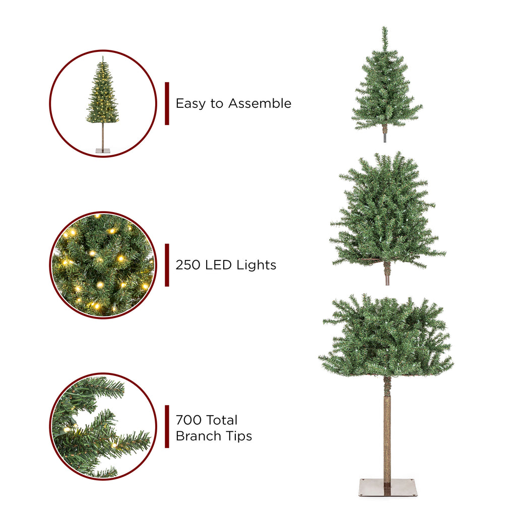 Pre-Lit Artificial Alpine Slim Pencil Christmas Tree w/ LED Lights, Stand
