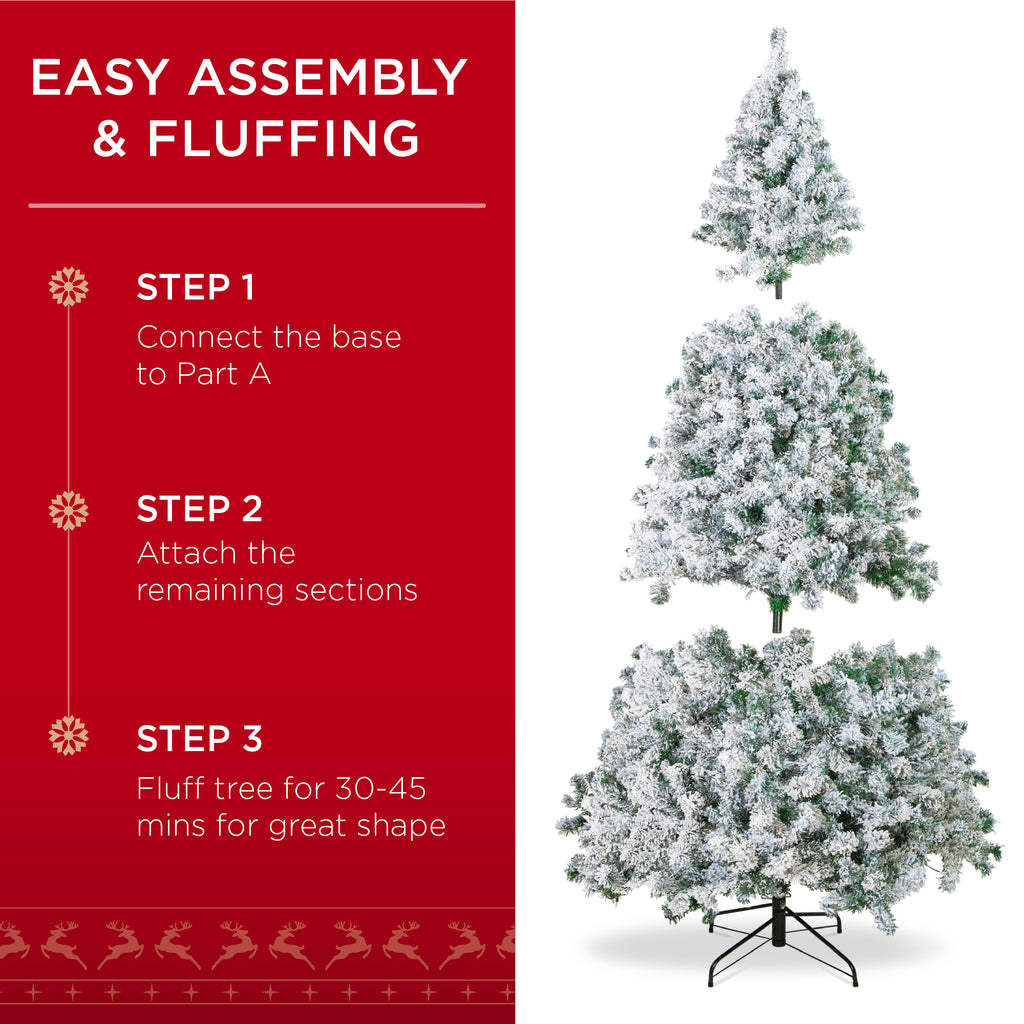 Pre-Lit Snow Flocked Artificial Pine Christmas Tree w/ Warm White Lights