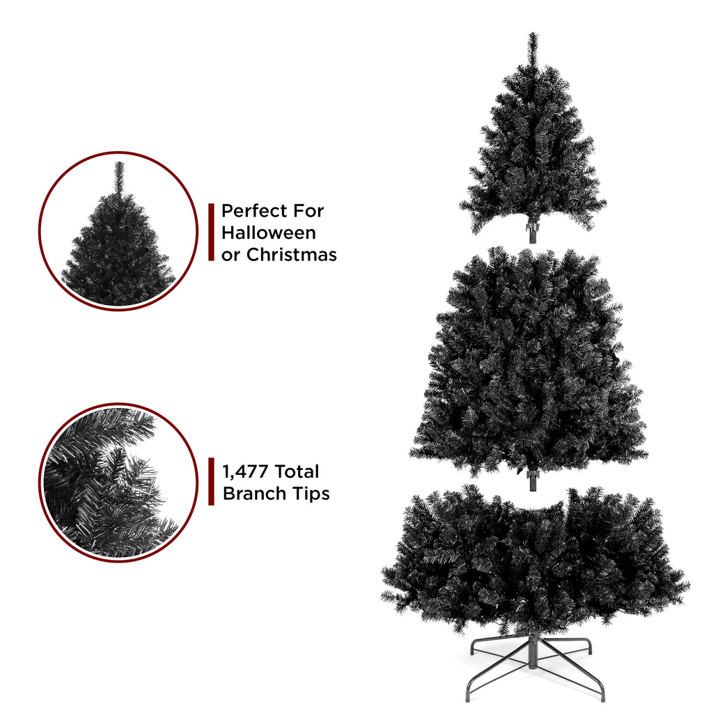 Black Artificial Christmas Tree w/ Easy Assembly, Foldable Metal Stand