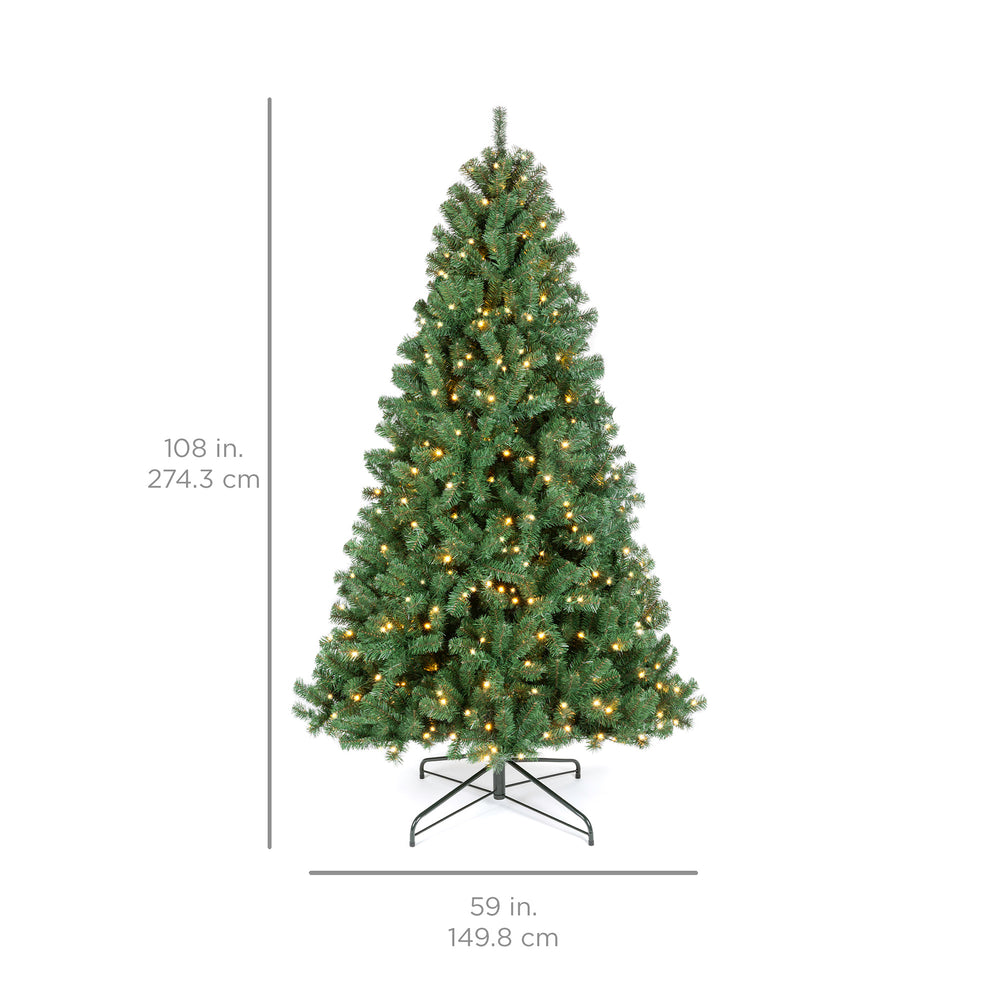 Pre-Lit Instant No Fluff Artificial Spruce Christmas Tree w/ Memory Branches