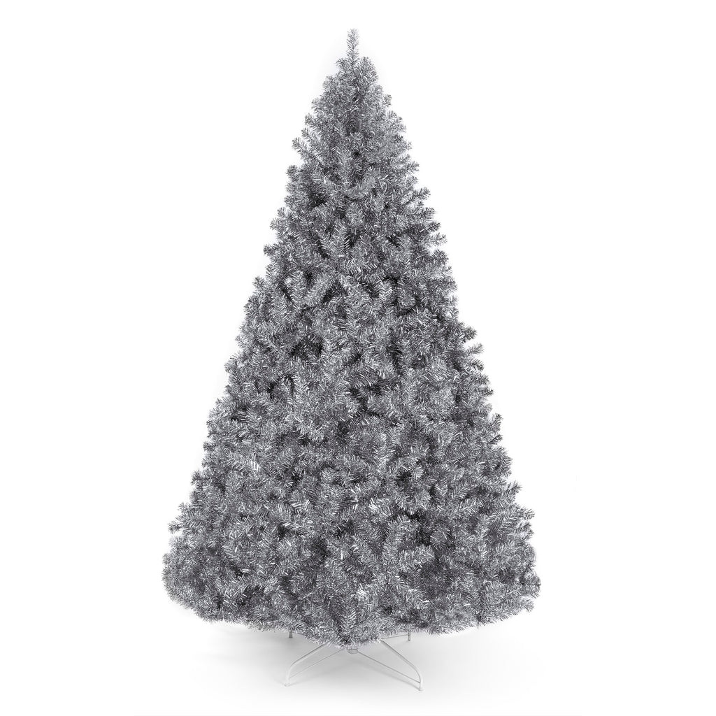 Silver Artificial Tinsel Christmas Tree w/ Foldable Stand