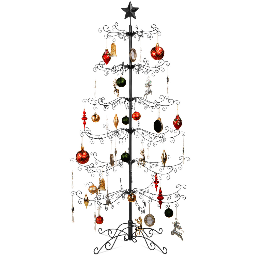 Wrought Iron Christmas Tree Ornament Display w/ Easy Assembly, Stand - 6ft