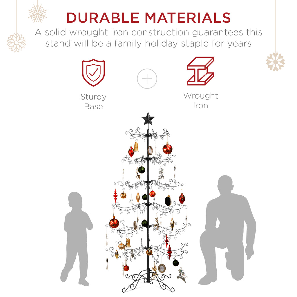 6ft Wrought Iron Ornament Display Christmas Tree w/ Easy Assembly, Stand