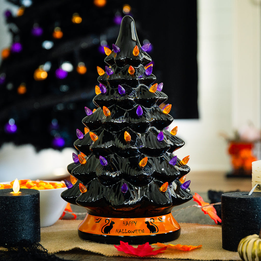 Pre-Lit 15in Ceramic Halloween Tree w/ Orange & Purple Bulb Lights