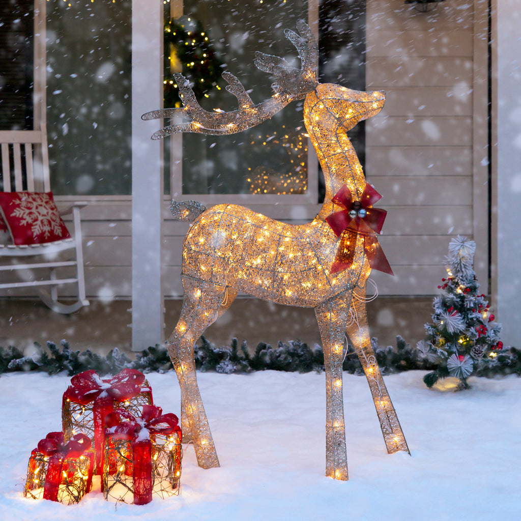 5ft 3D Pre-Lit Gold Glitter Christmas Reindeer Yard Decoration w/ 150 Lights