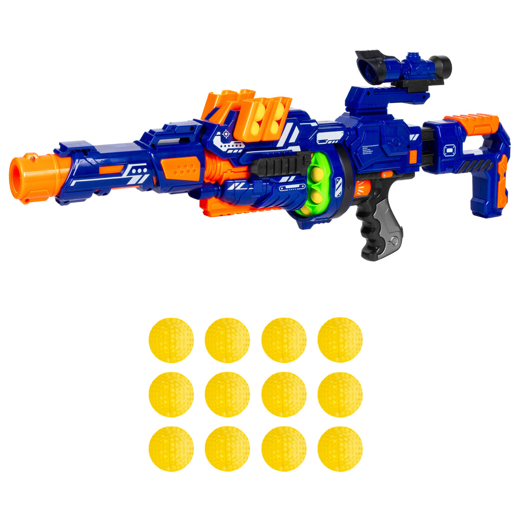Electric Soft Foam Ball Long-Distance Blaster Toy w/ Barrel Extension, Bipod