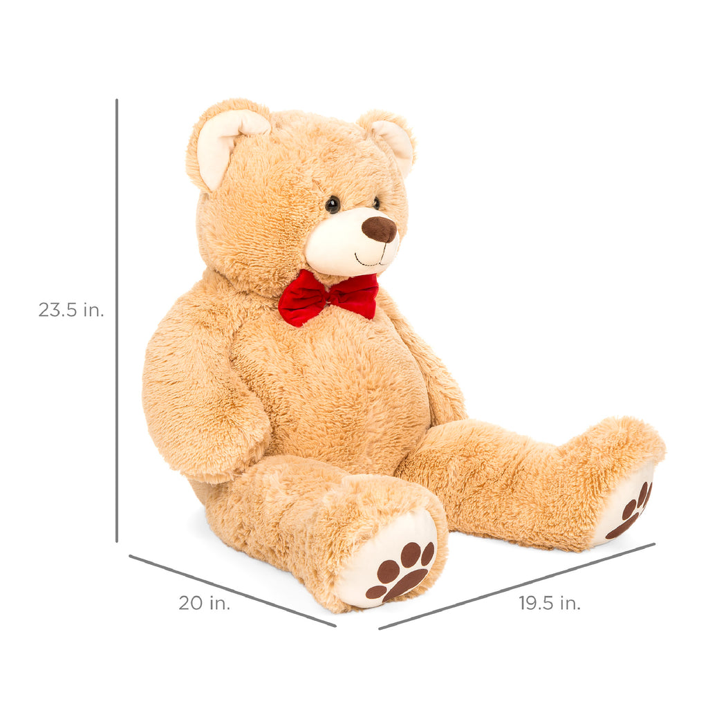 38in Giant Plush Teddy Bear Stuffed Animal Toy w/ Red Bow Tie, Footprints