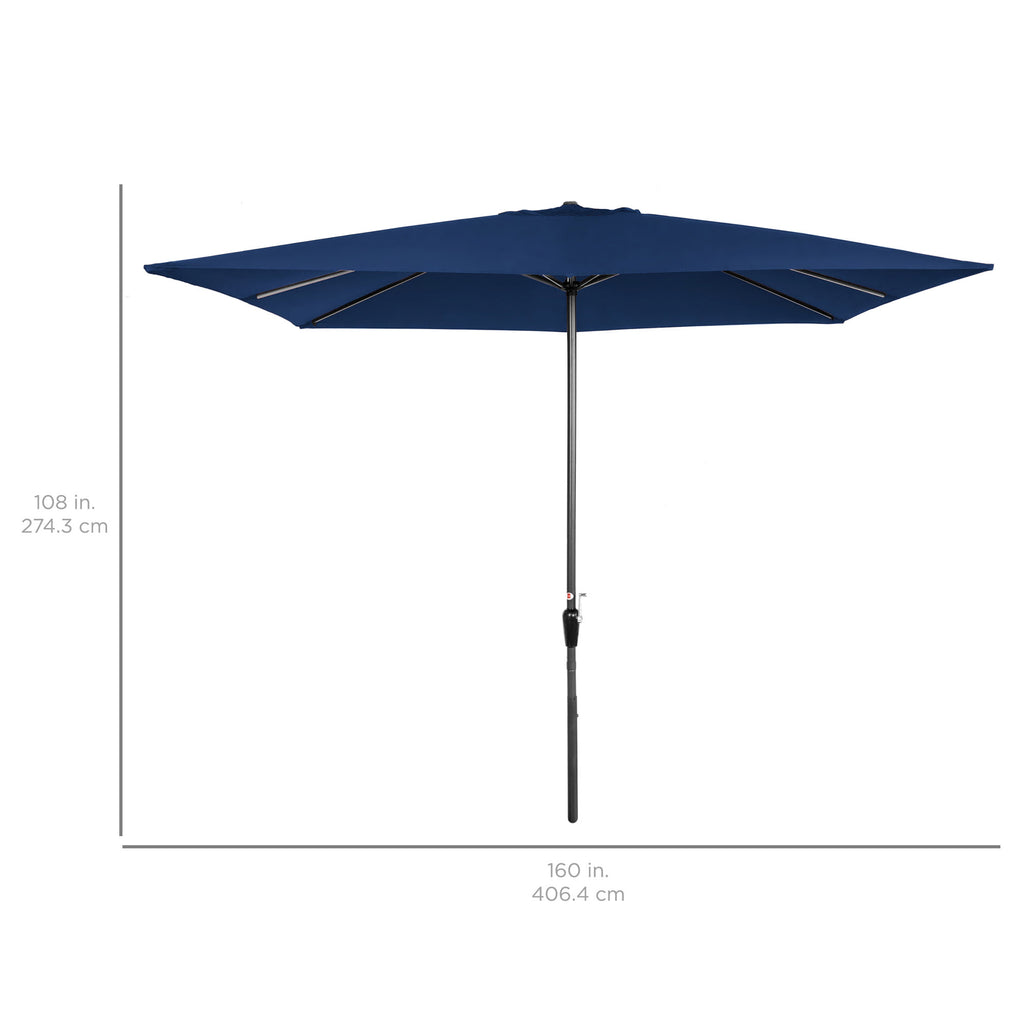 8x11ft Rectangular Patio Umbrella w/ Easy Crank, UV-Resistant Fabric