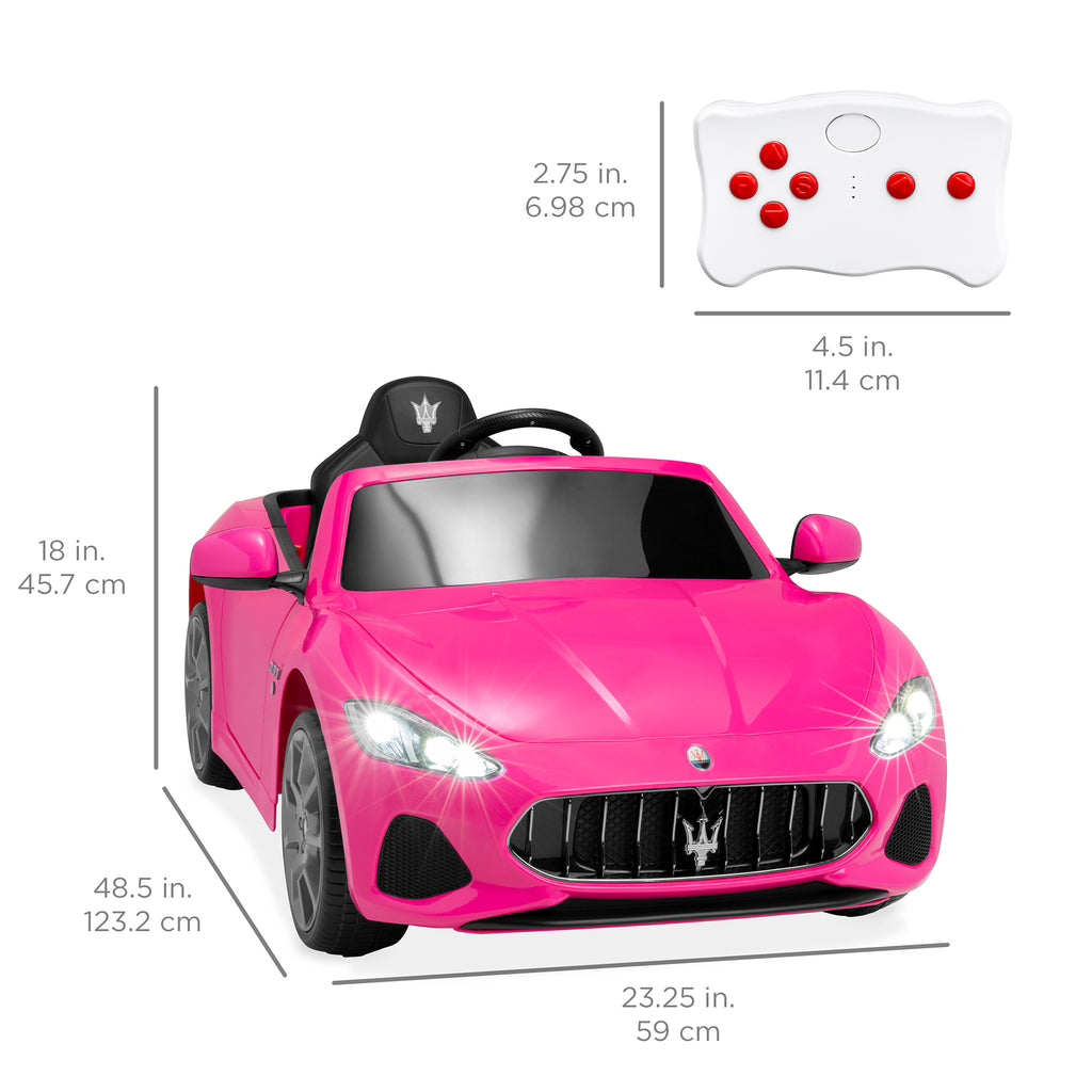 Kids 12V Licensed Maserati GranCabrio Ride On Car w/ Remote Control, AUX