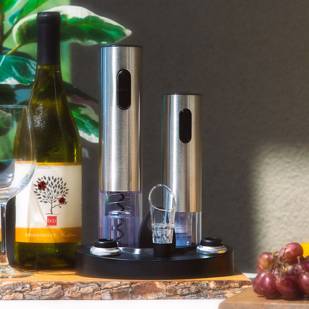 Electric Stainless Steel Wine Opener Set w/ Aerator, Foil Cutter, Charger