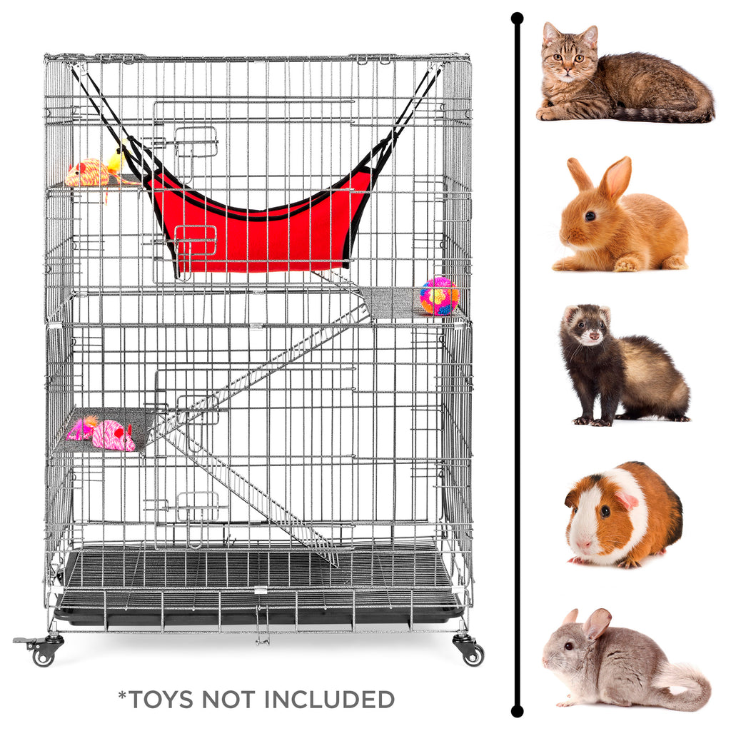 30x19x43in 4-Tier Cat Cage Playpen Crate w/ Hammock, Wheels, Shelves