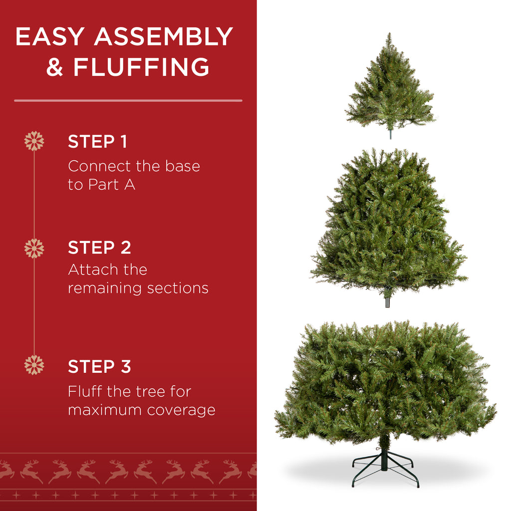 Pre-Lit Hinged Douglas Artificial Christmas Tree w/ Stand