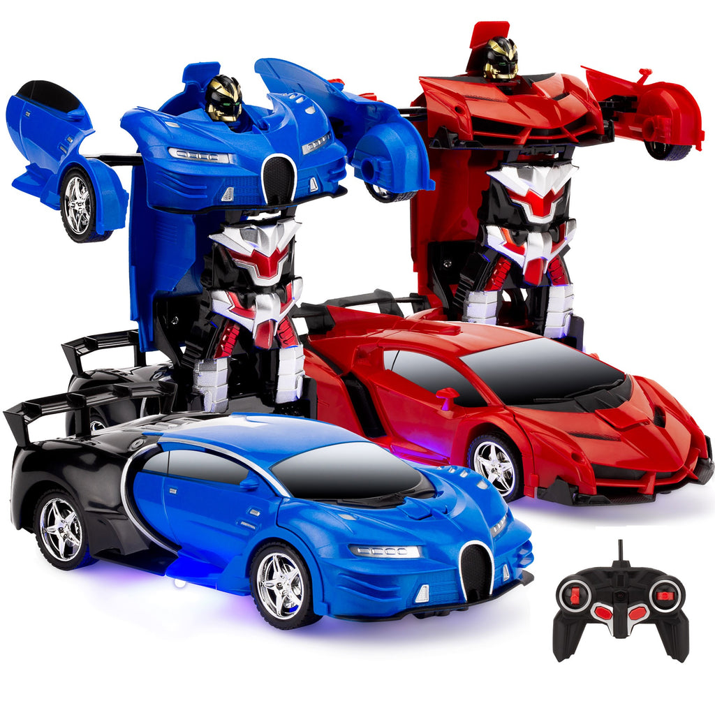 Set of 2 1/18 Scale RC Remote Control Transforming Robot Car Toys