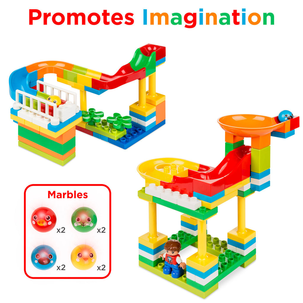 Kids 247-Piece Building Block Marble Run STEM Toy Track Set w/ Ramps, Slides