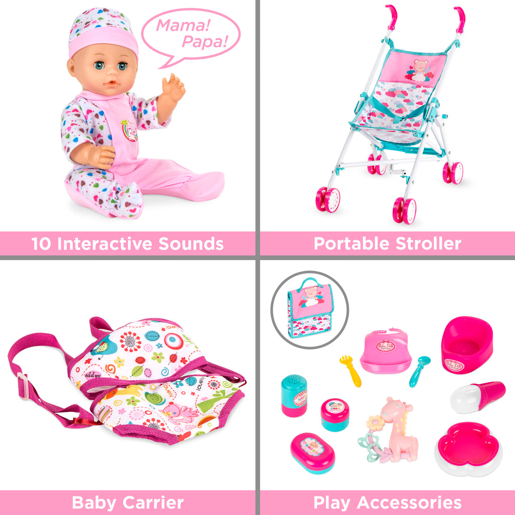 Kids 15-Piece 13.5in Newborn Baby Doll Role Play Playset w/ Accessories