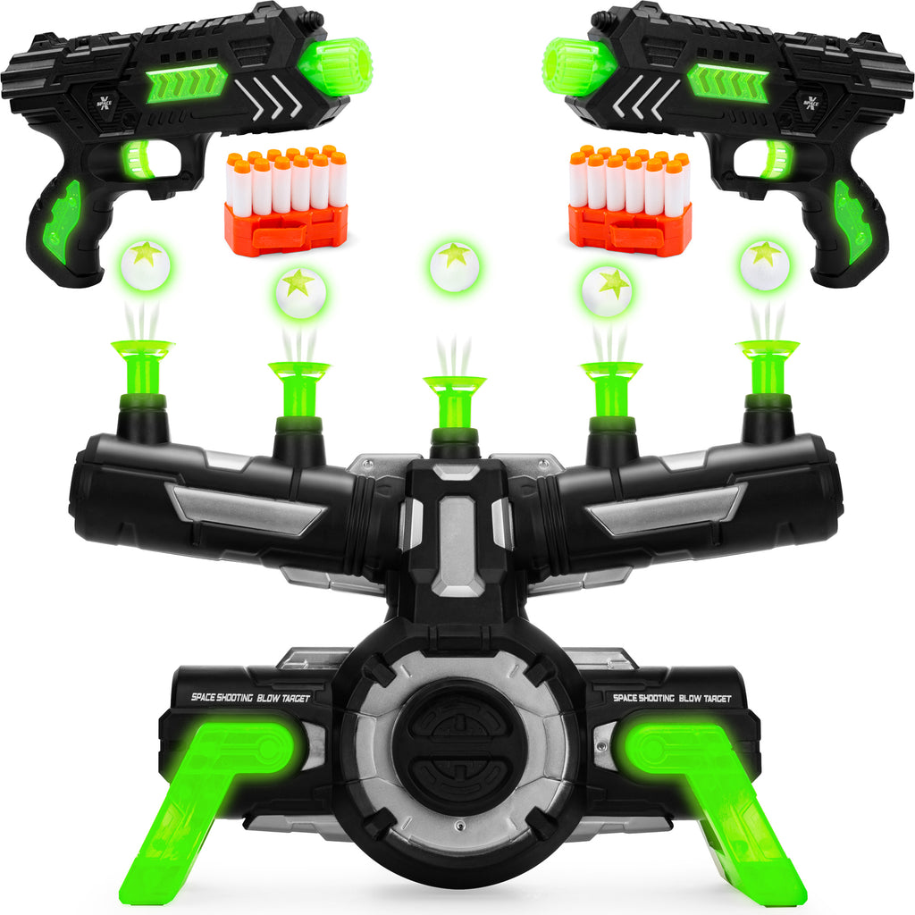 Glow-in-the-Dark Foam Dart Blasters & Target Set w/ 24 Darts, 2 Blasters