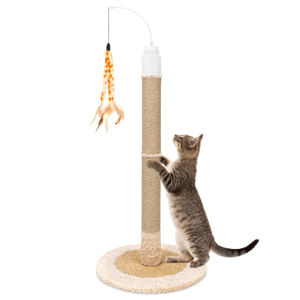40in Electronic Rotating Cat Scratching Post Toy w/ Adjustable Height