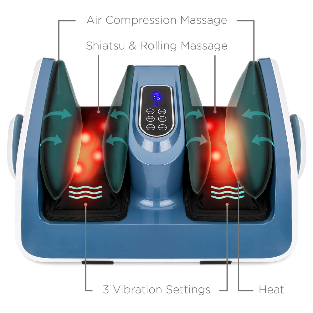 Air Compression Shiatsu Calf & Foot Therapeutic Massager w/ Heat, Rollers