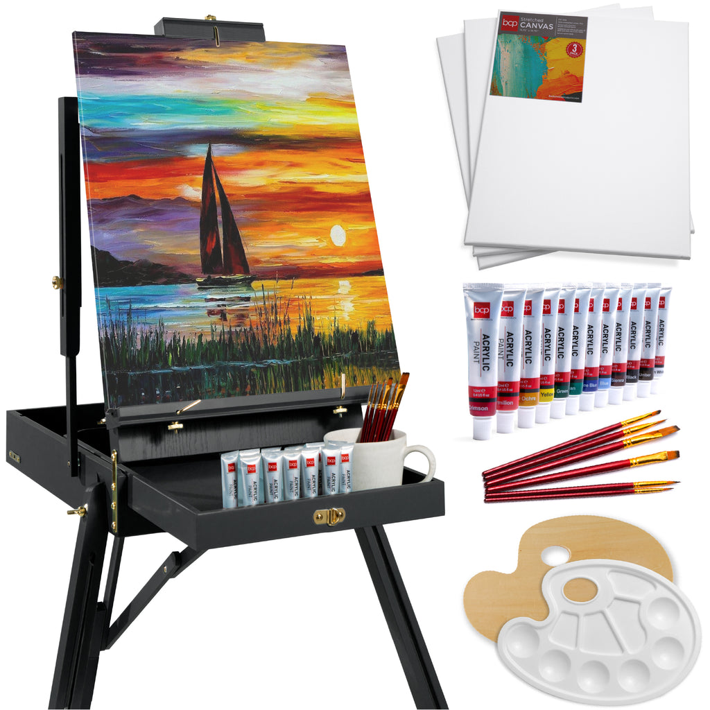 Portable Folding French Style Easel Tripod Stand w/ Drawer, Palette