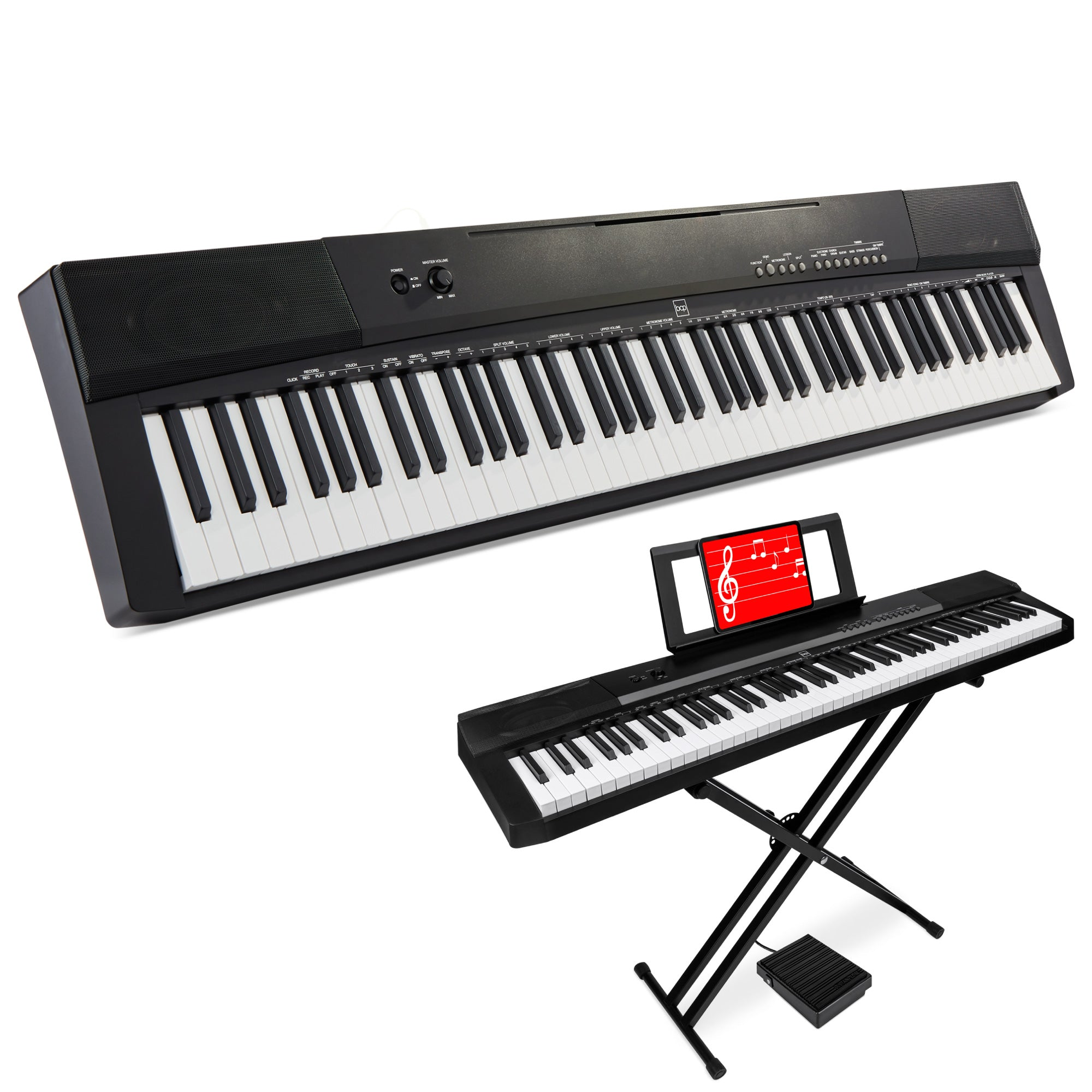 Key Digital  F F E B Piano Set W Semi Weighted Keys Stand Sustain
