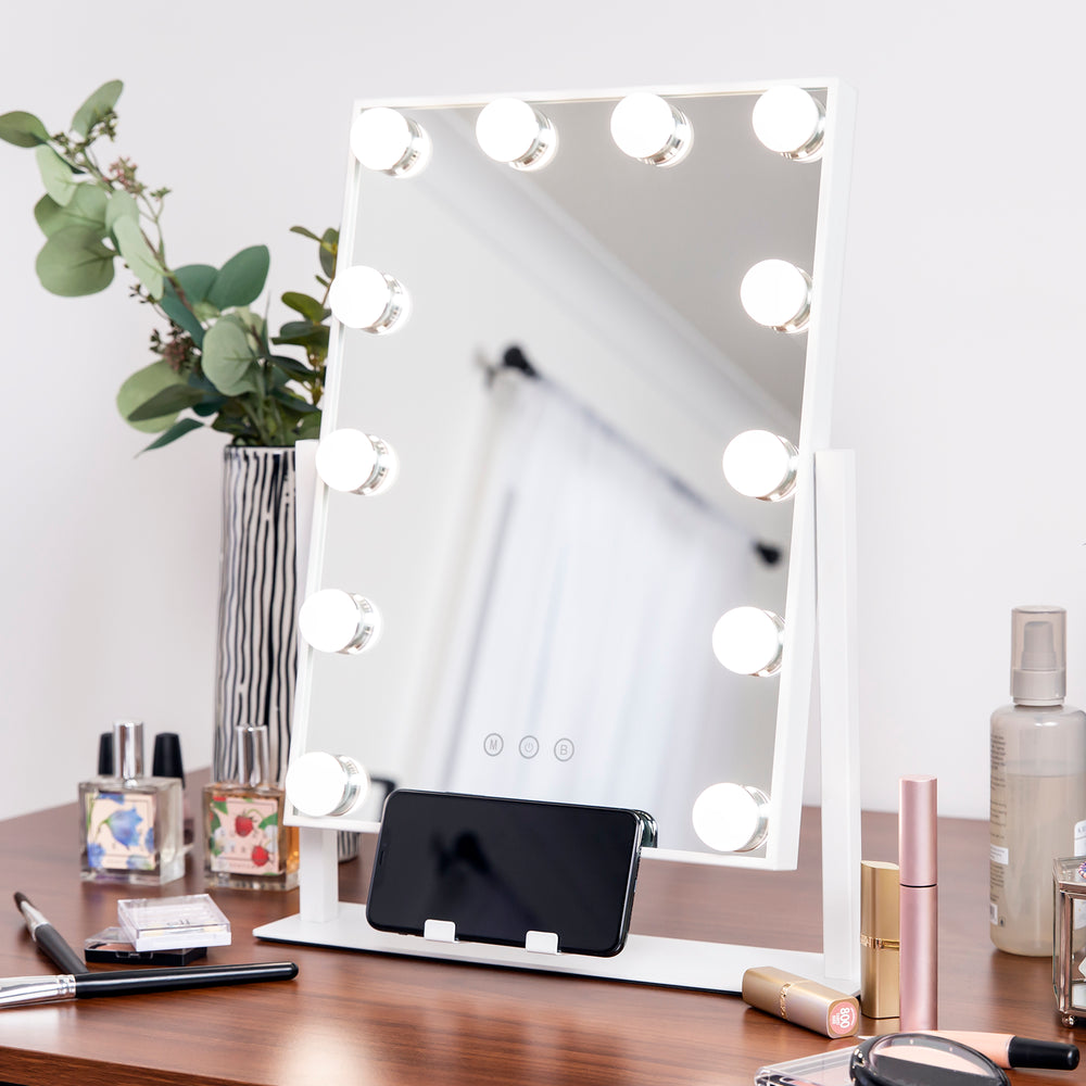 Hollywood Makeup Vanity Mirror w/ Smart Touch, Phone Holder, 12 LED Lights