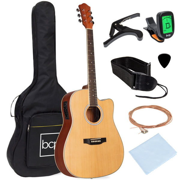 "BCP 41"" Full Size Acoustic Electric Cutaway Guitar Set"