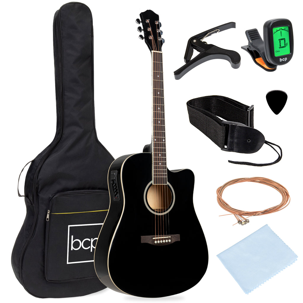 41in Beginner Acoustic Electric Cutaway Guitar Set w/ Case, Strap