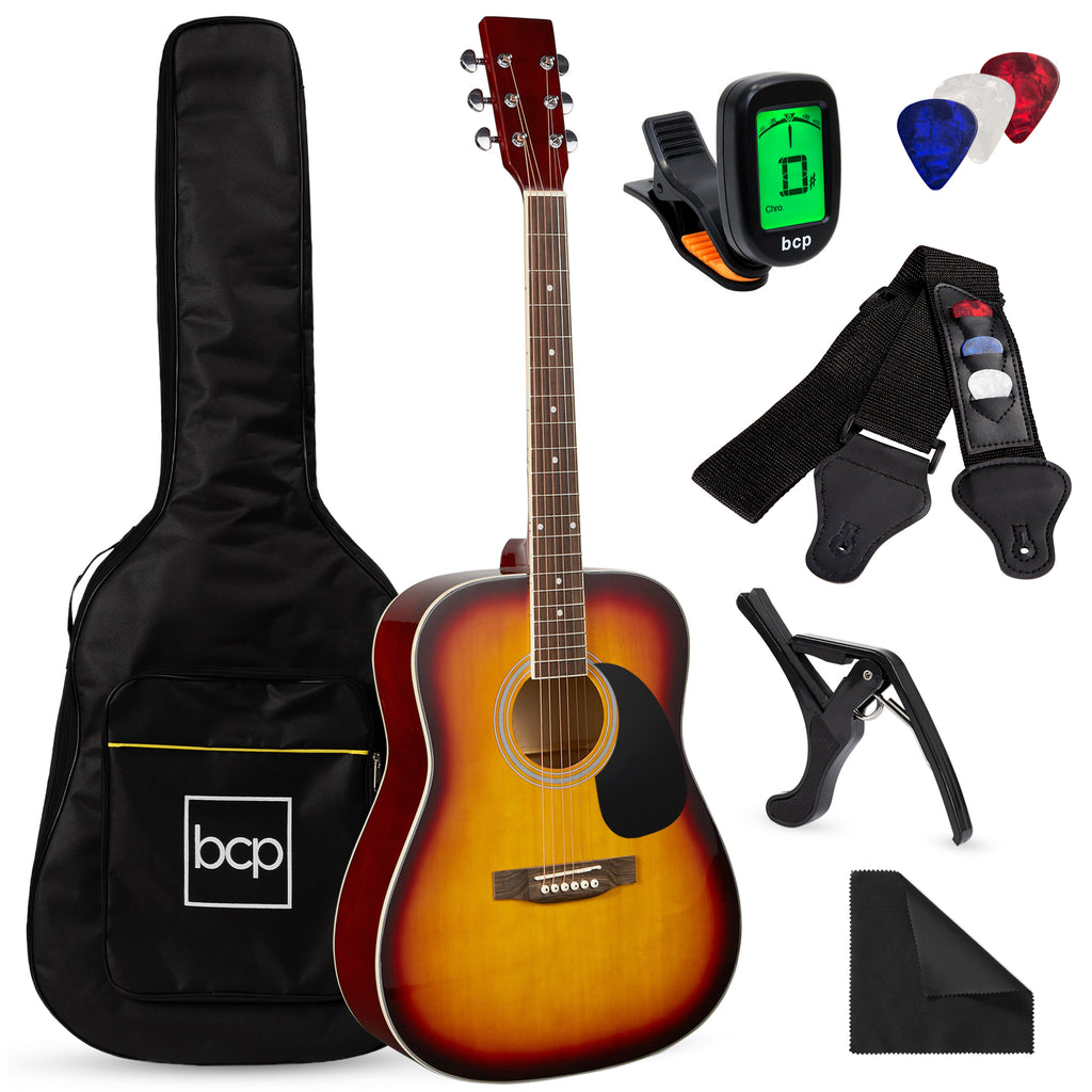 41in Acoustic Guitar Starter Kit w/ Digital Tuner, Padded Case, Picks, Strap