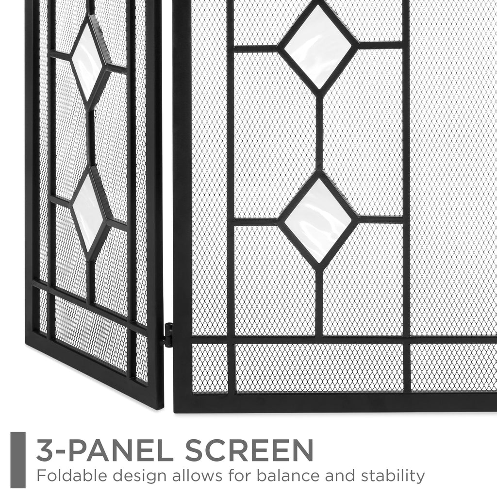 3-Panel 48x30in Glass Diamond Accent Handcrafted Iron Fireplace Screen