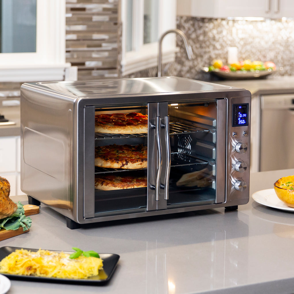 55L 1800W Extra Large Countertop Convection Toaster Oven w/ French Doors