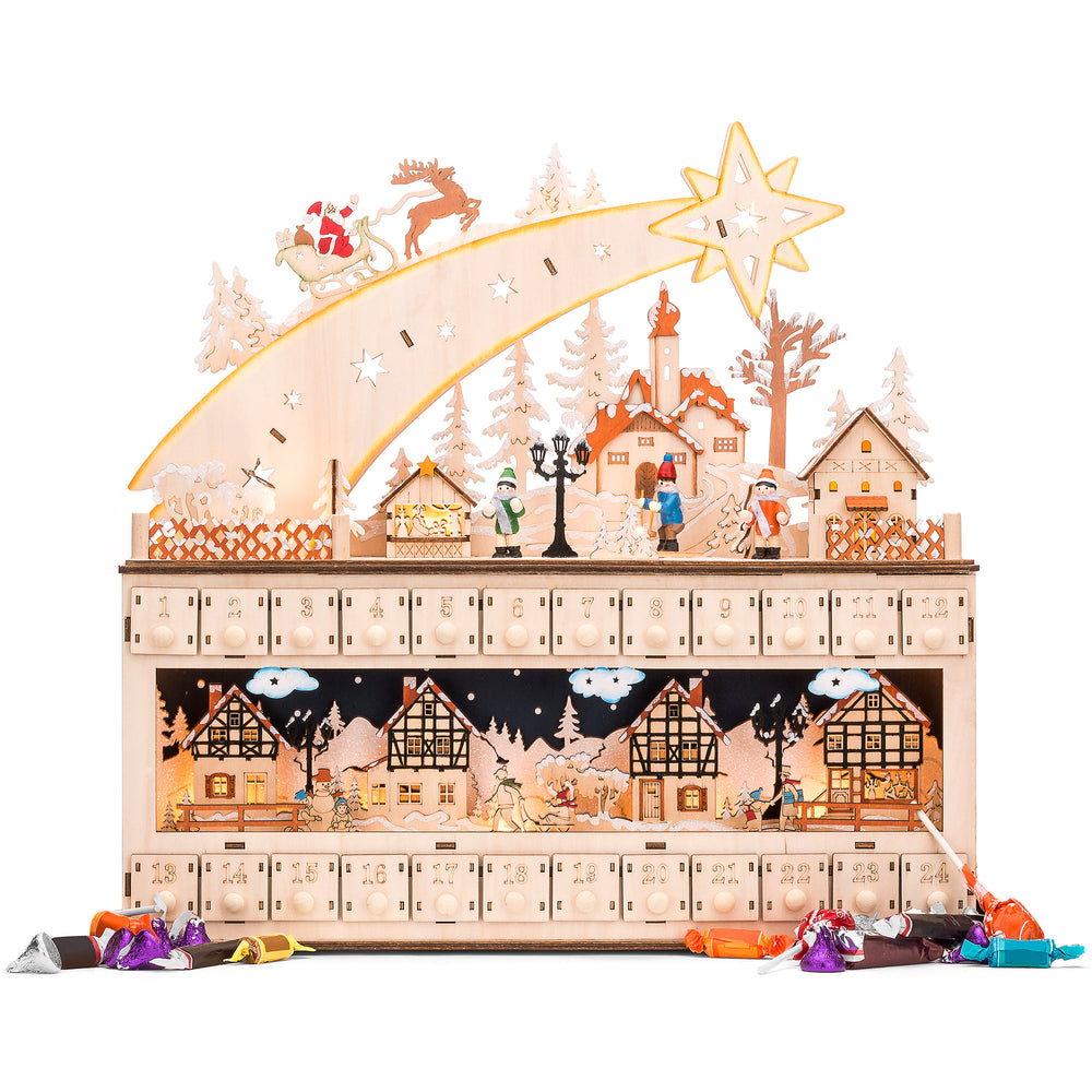 Wooden Christmas Shooting Star Advent Calendar w/ LED Light Background