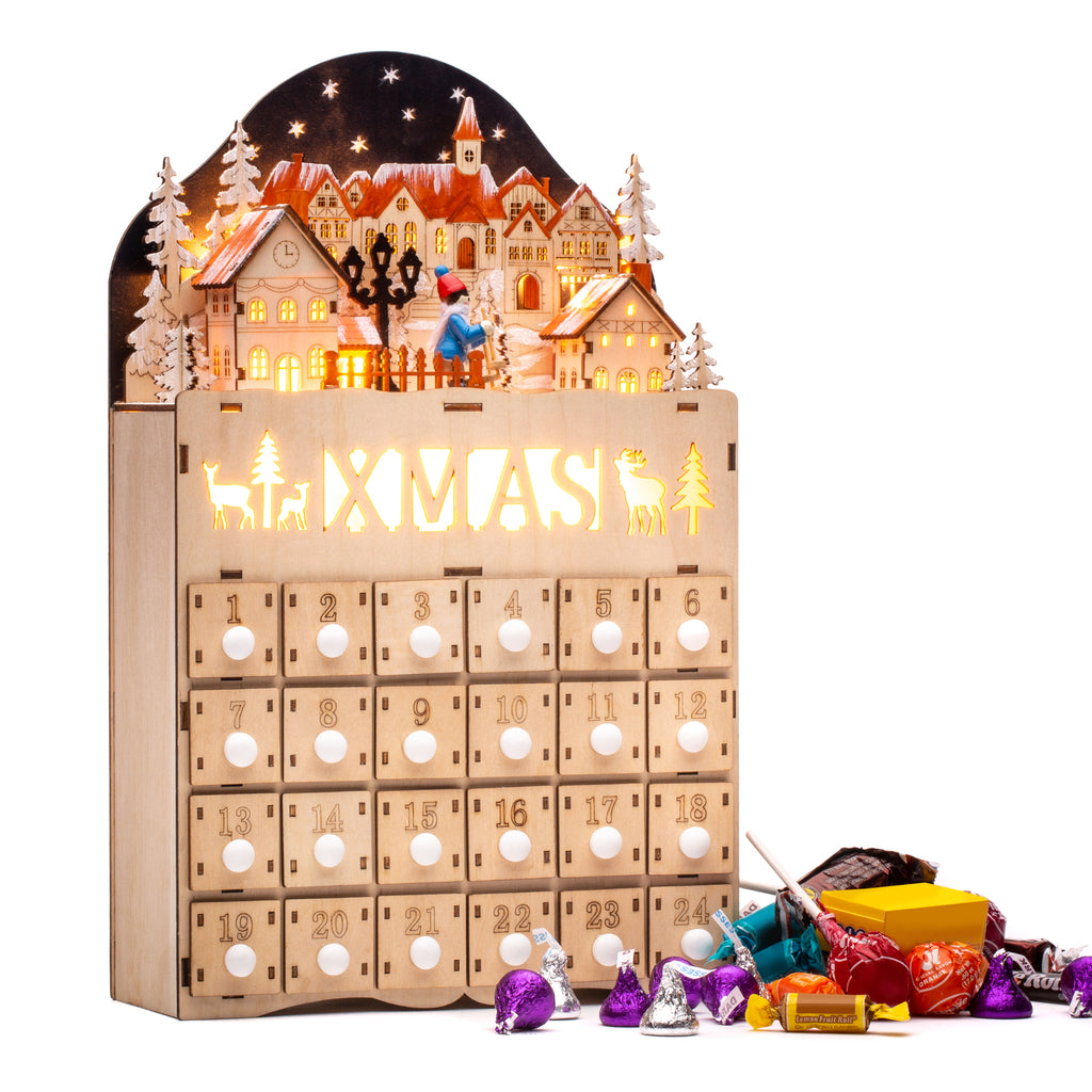 Wooden Christmas Village Advent Calendar Decoration w/ LED Light Background