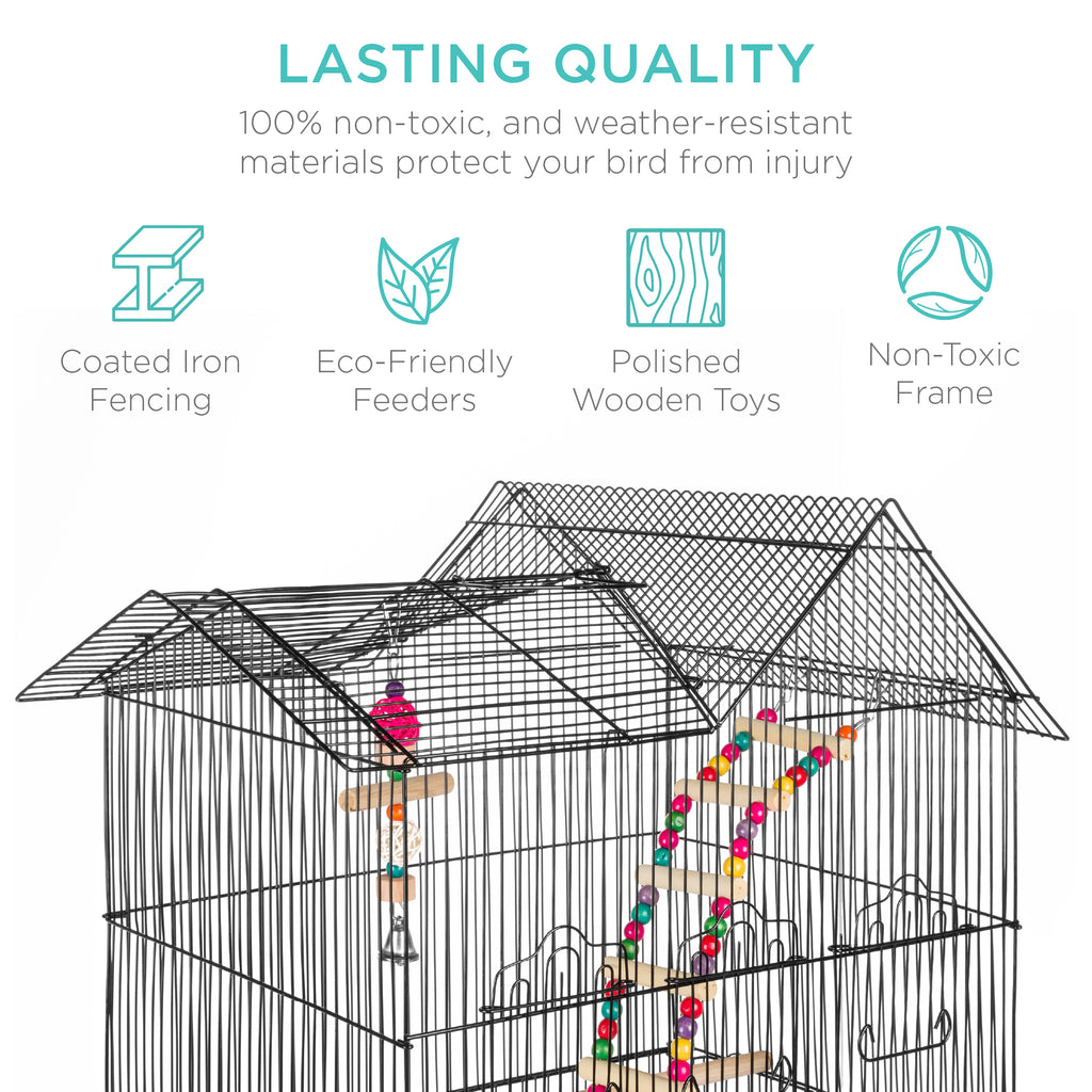 Indoor Outdoor Iron Birdcage w/ Removable Tray, 4 Feeders, 2 Toys - 36in