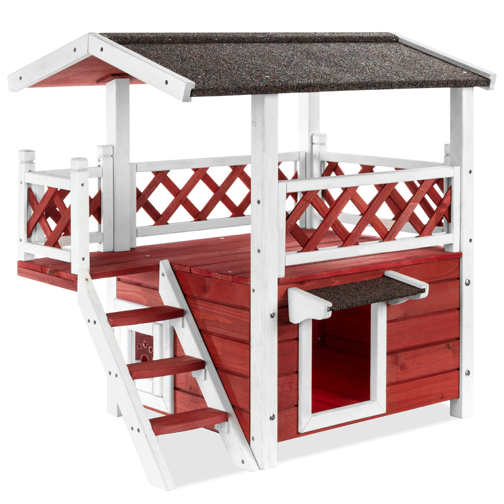 2 Story Fir Wood All-Weather Pet House for Indoor, Outdoor
