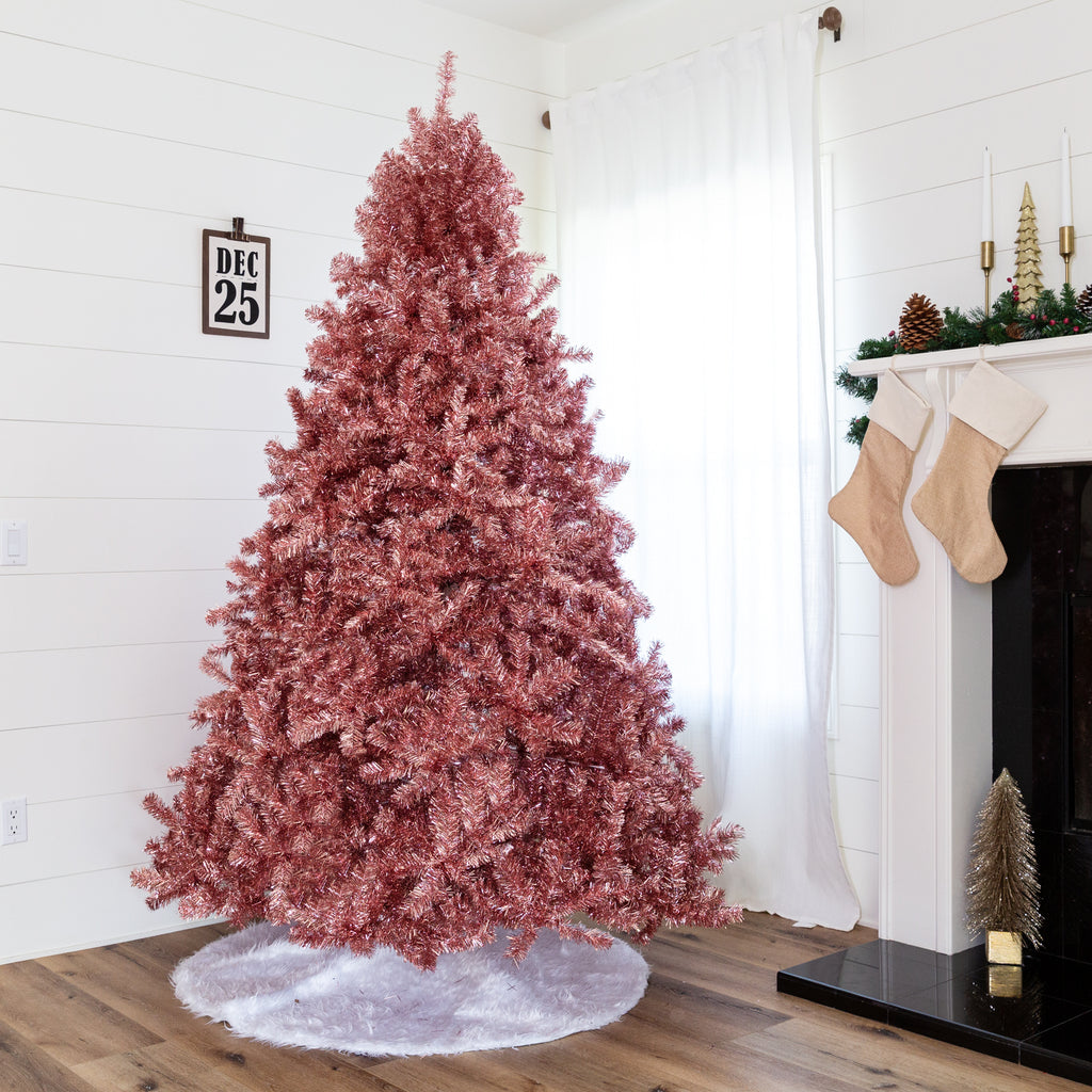 Pink Artificial Tinsel Christmas Tree w/ Foldable Stand