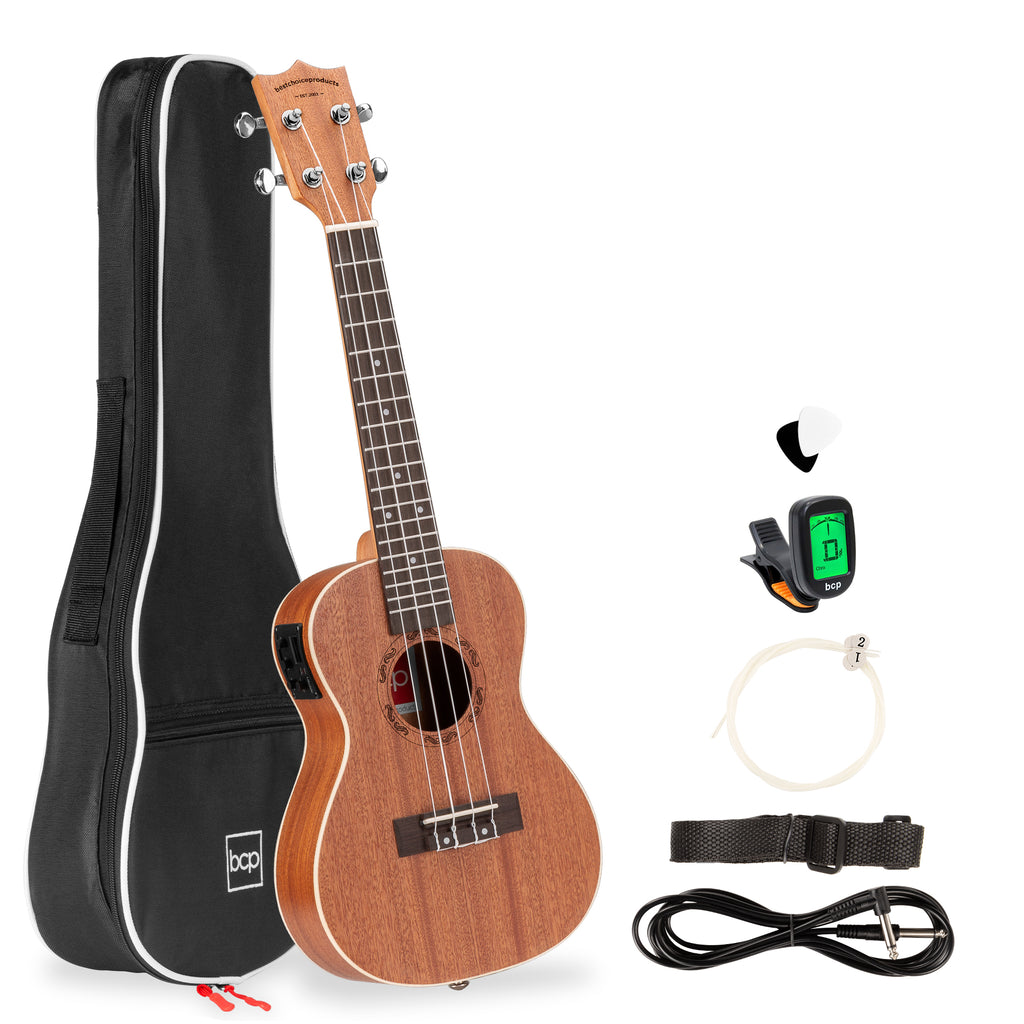 23in Acoustic Electric Concert Sapele Ukulele Starter Kit w/ Built-in Tuner