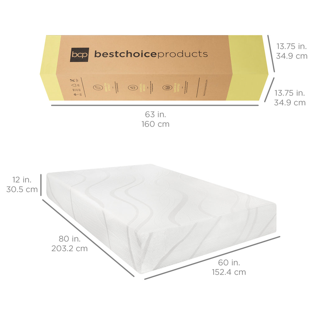 12in Medium-Plush Green Tea & Bamboo Charcoal Gel Memory Foam Mattress
