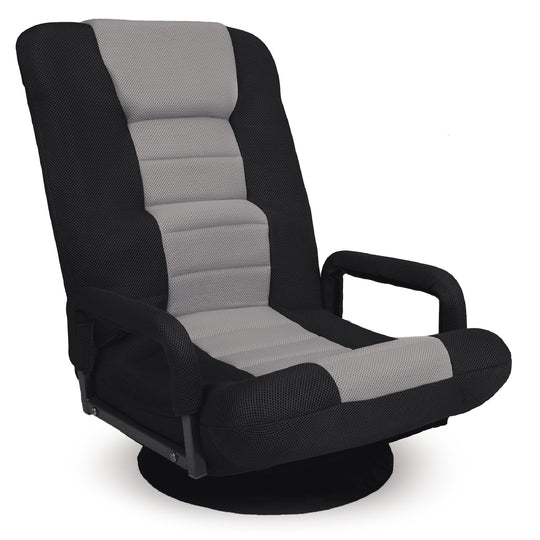 Best Choice Gaming Swivel Floor Chair with 360-Degree Swivel, Armrest, Adjustable Backrest (Gray)