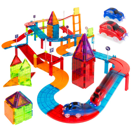105-Piece Kids Magnetic Tile Car Race Track STEM Building Toy Set w/ 2 Cars
