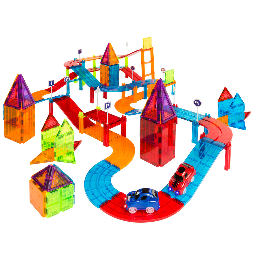 212-Pieces BCP Kids Magnetic Tile Car Race Track Building Toy with 2Car