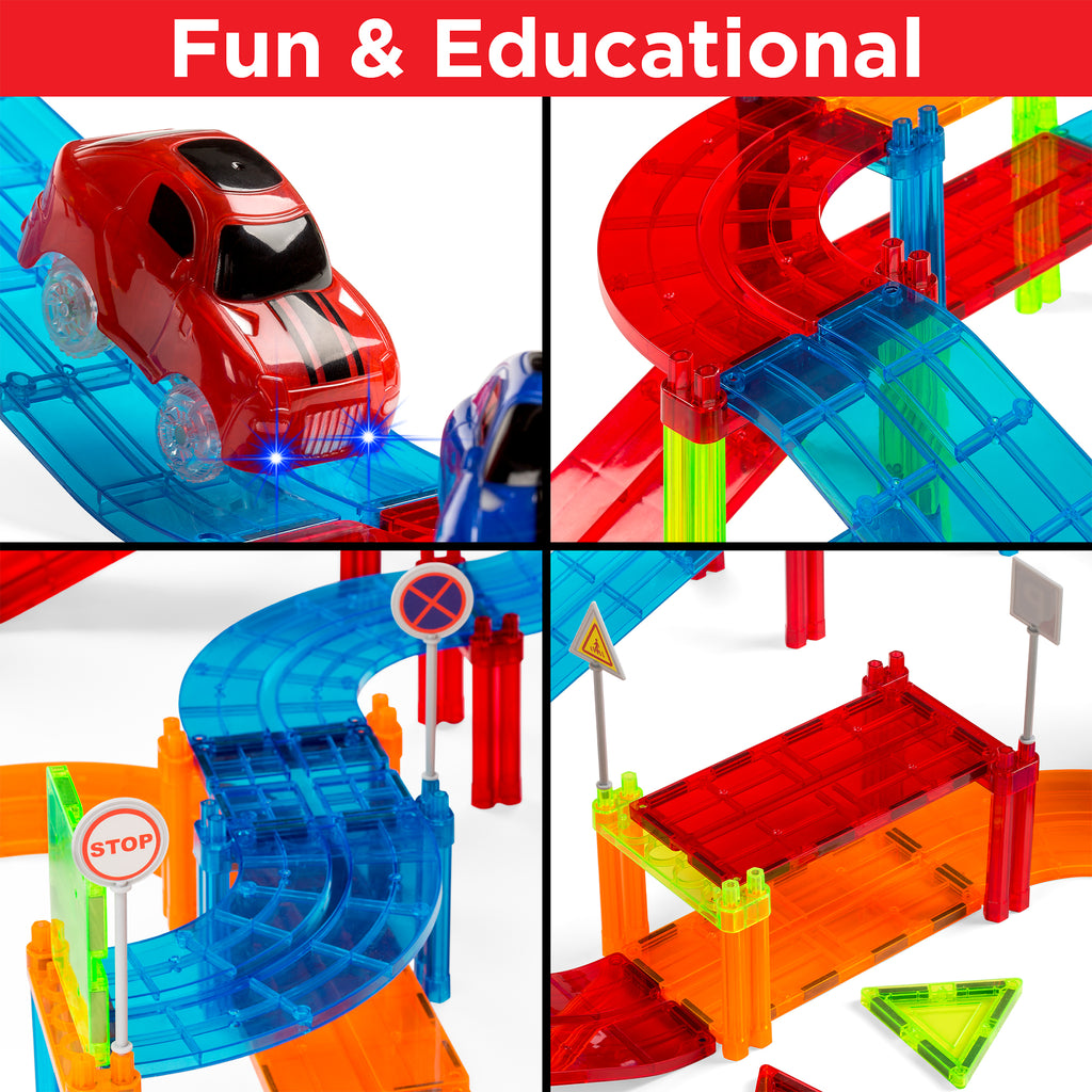 212-Piece Kids Magnetic Tile Car Race Track STEM Building Toy Set w/ 2 Cars