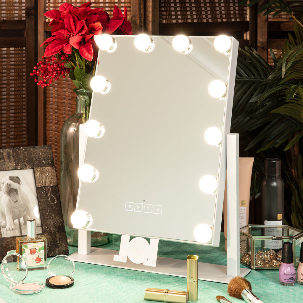 Hollywood Vanity Mirror w/ Bluetooth Speakers, 3 Color Temps, Phone Stand