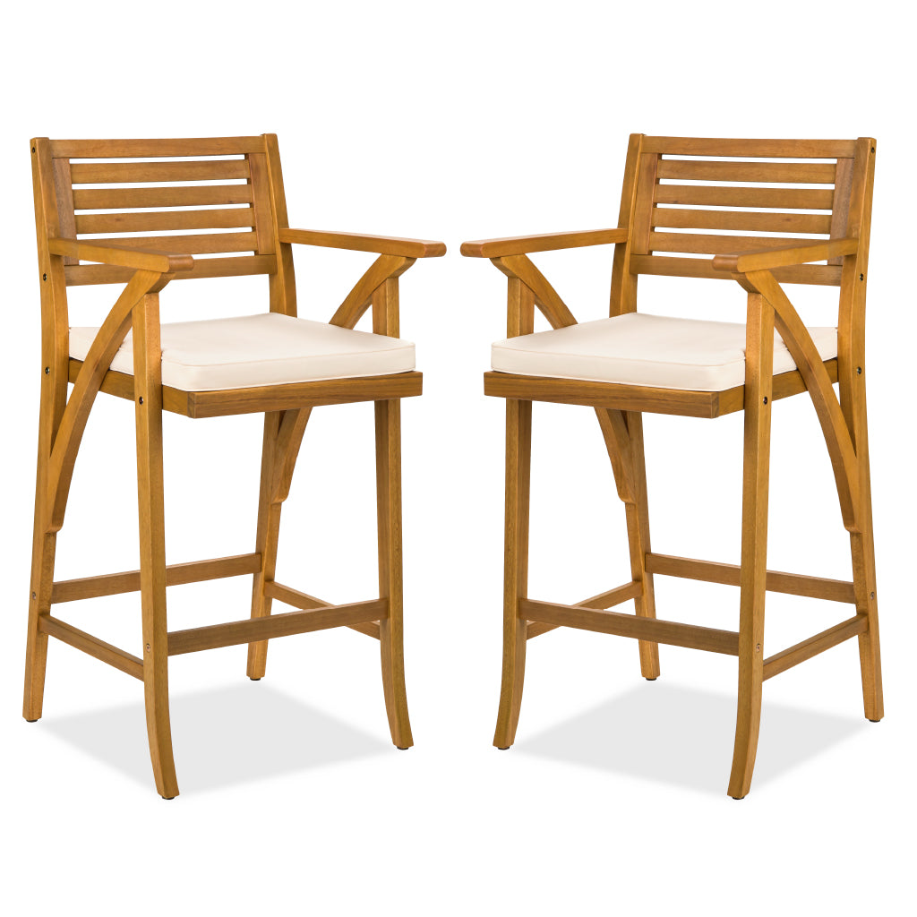 Set of 2 Outdoor Acacia Wood Bar Stools Chairs w/ Weather-Resistant Cushions