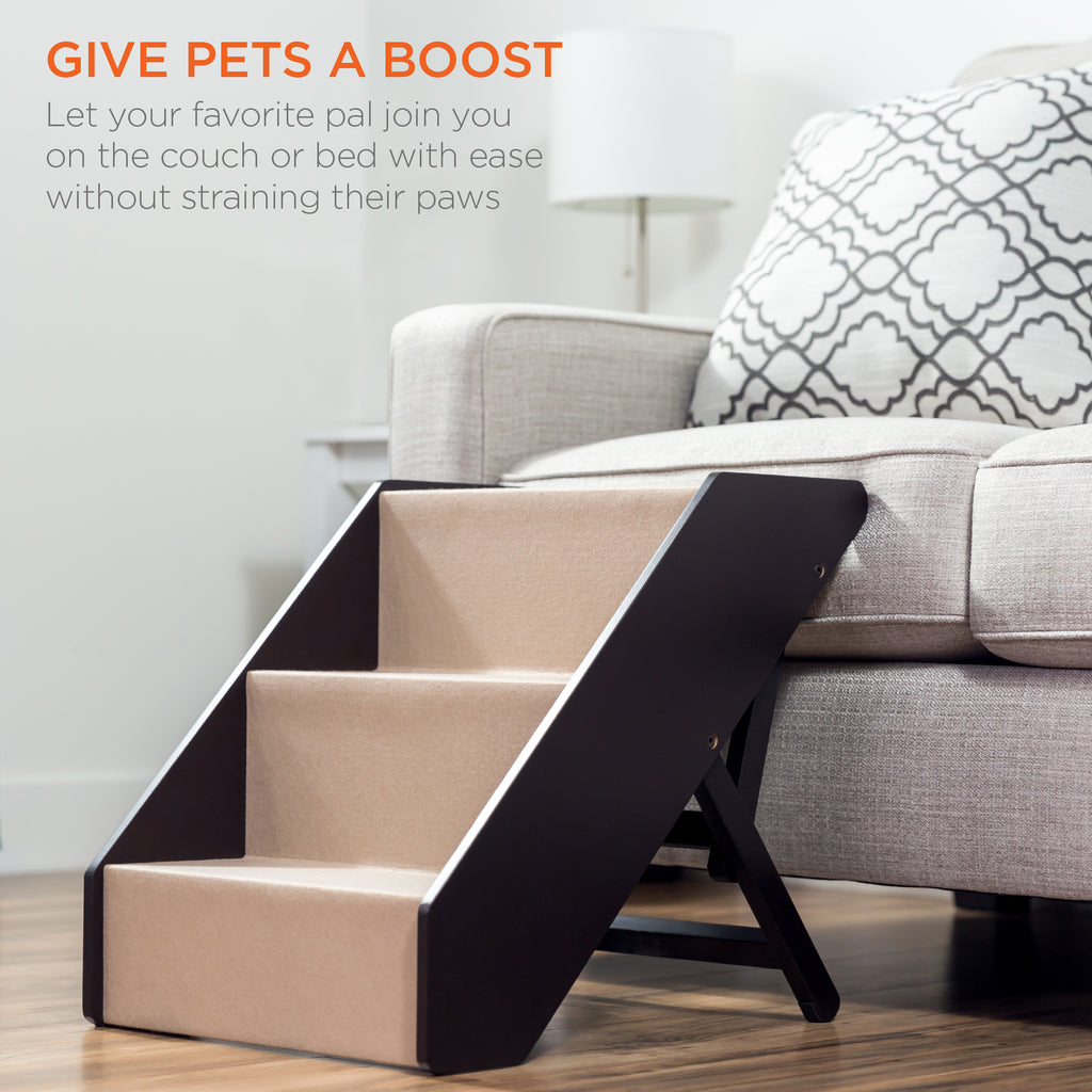 Foldable Adjustable, Non-Slip Wide Wooden Carpeted Pet Step Stairs