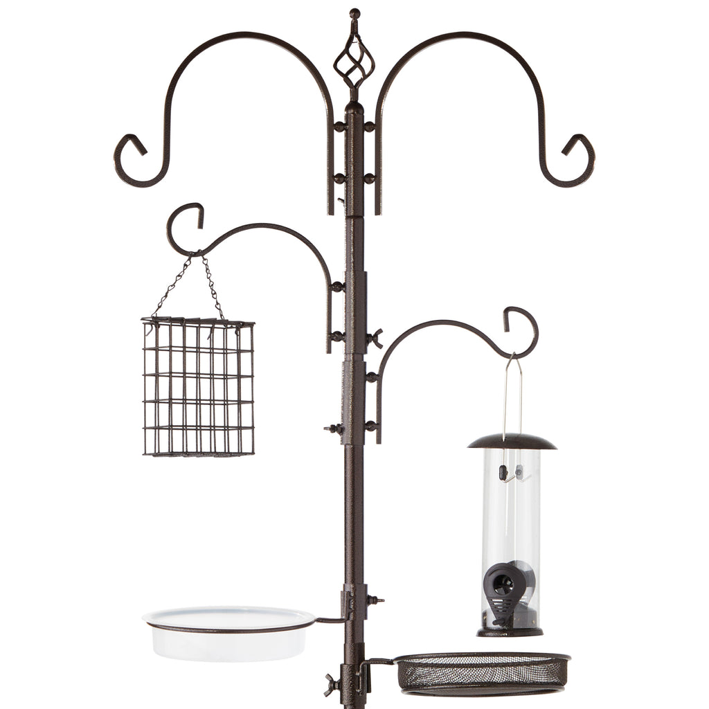 91in 4-Hook Bird Feeding Station, Steel Multi-Feeder Stand w/ 2 Bird Feeders