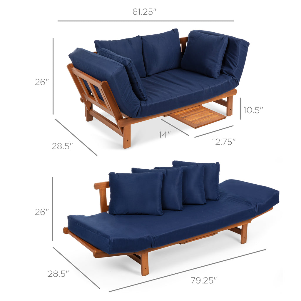 Outdoor Convertible Acacia Wood Futon Sofa w/ 4 Pillows, Removable Cushion