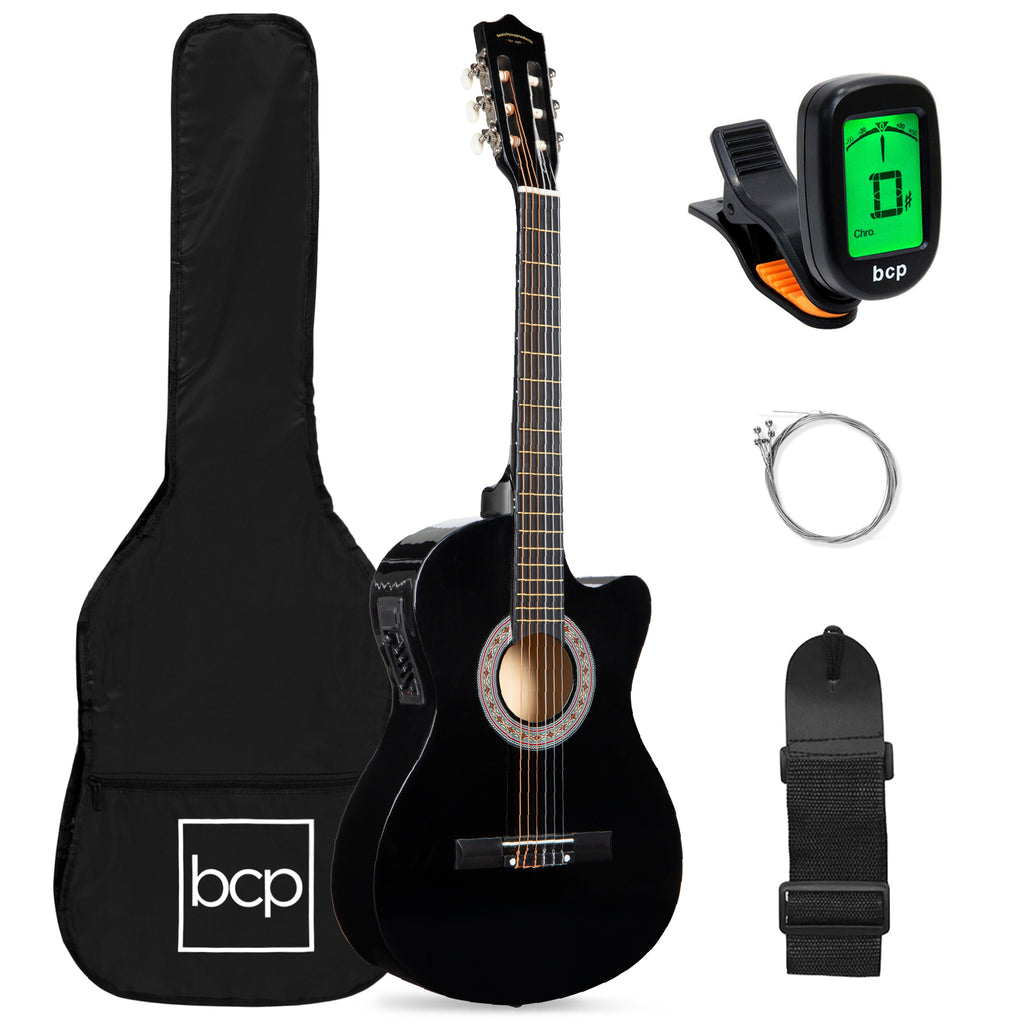 Beginner Acoustic Electric Cutaway Guitar Set w/ Case, Strap - 38in